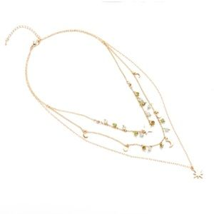 Layered Charm Beads Moon Stars Necklace Gold